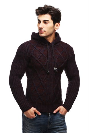Madmext Claret Red Knitting Jumper with Hooded TC3427