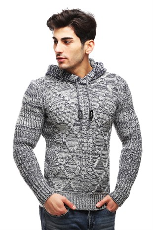 Madmext Grey Knitting Jumper with Hooded TC3427