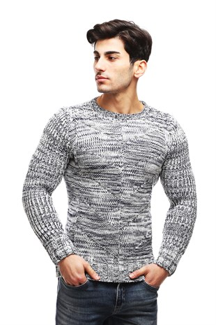 Madmext Grey Crewneck Wool Jumper TC3430