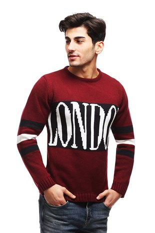 Madmext Claret Red Patterned Jumper TC5664