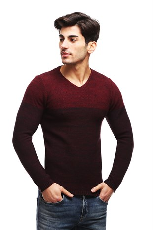Madmext Claret Red Patterned Crewneck Jumper TC7789