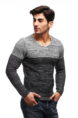 Madmext Dark Grey Patterned Crewneck Jumper TC7789