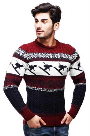 Madmext Claret Red Patterned Crewneck Jumper TC9002
