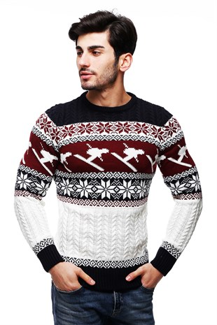 Madmext White Patterned Crewneck Jumper TC9002