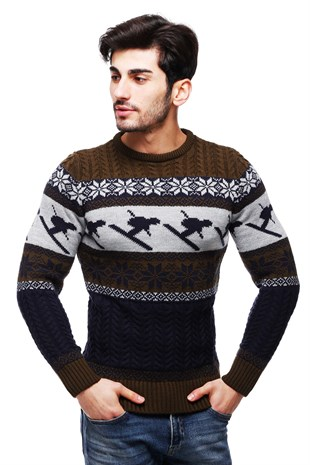 Madmext Khaki Patterned Crewneck Jumper TC9002