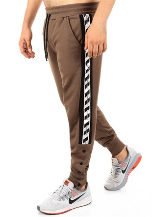 Mens Sweatpant In Striped Design Camel Color2708