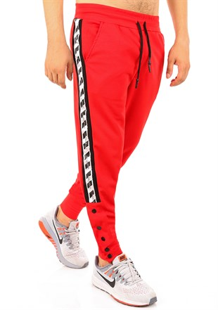 Mens Sweatpant In Striped Design Red Color2708