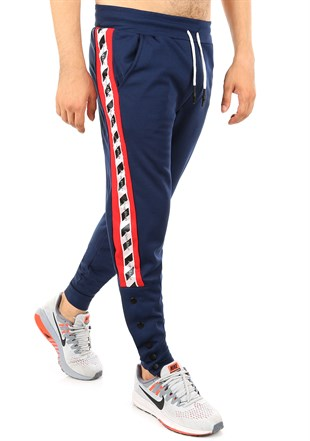 Mens Sweatpant In Striped Design Navy Blue Color2708