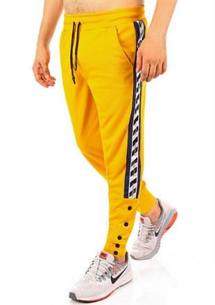 Mens Sweatpant In Striped Design Yellow Color2708