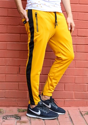 Mens Sweatpant In Striped Design Yellow Color 2707